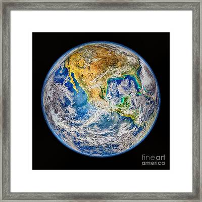 Biggest Image Of Earth Ever N. A. S. A Framed Print by Bob and Nadine Johnston