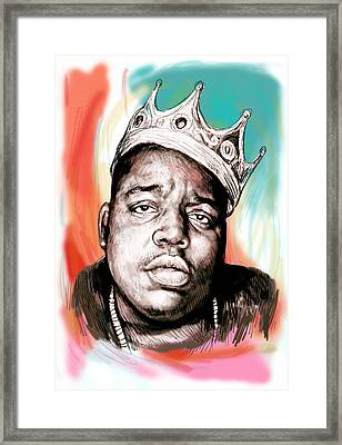 Biggie Smalls Colour Drawing Art Poster Framed Print by Kim Wang