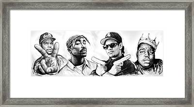 Biggie With Rap Art Drawing Poster Framed Print by Kim Wang