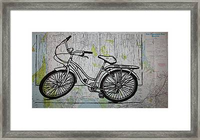 Bike 5 On Map Framed Print by William Cauthern