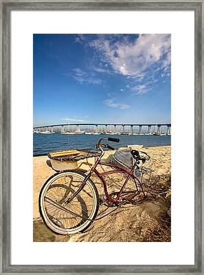 Bike And A Brdige Framed Print by Peter Tellone