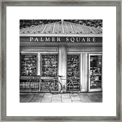 Bike At Palmer Square Book Store In Princeton Framed Print by Ben and Raisa Gertsberg