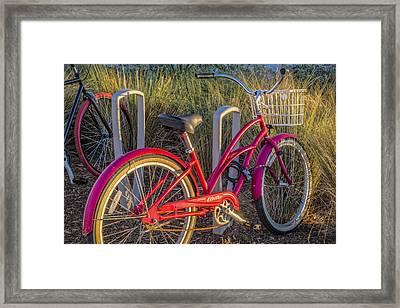 Bike At The Beach Framed Print by Debra and Dave Vanderlaan