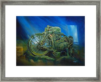Bike In A Different Dimension Framed Print by Ottilia Zakany