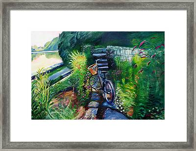 Bike In The Butterfly Garden Framed Print by Colleen Proppe