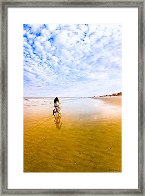 Bike Ride On The Beach At Tybee Island Framed Print by Mark E Tisdale