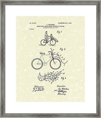 Bike Seat 1903 Patent Art Framed Print by Prior Art Design