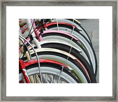 Bikes In A Row Framed Print by Joie Cameron-Brown