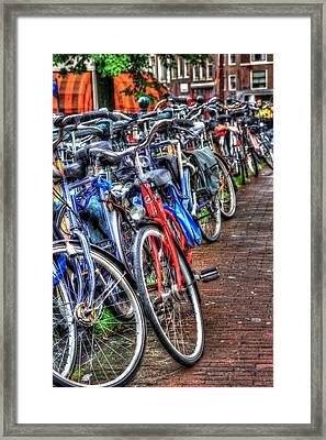 Bikes In Amsterdam Framed Print by Sophie Vigneault