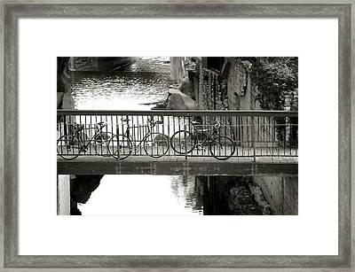 Bikes Over Waller Creek Framed Print by Kristina Deane
