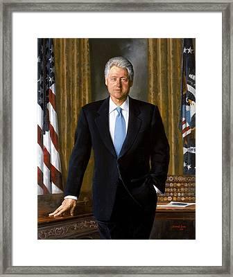 Bill Clinton Portrait Framed Print by Tilen Hrovatic