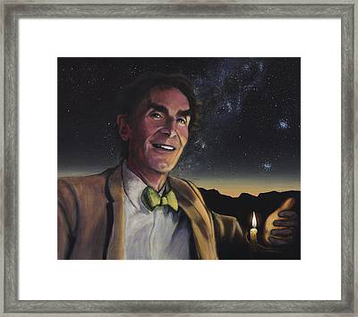 Bill Nye - A Candle In The Dark Framed Print by Simon Kregar