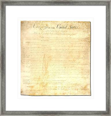 Bill Of Rights Framed Print by Ron Hedges