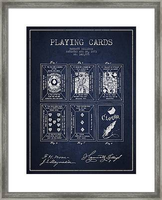 Billings Playing Cards Patent Drawing From 1873 - Navy Blue Framed Print by Aged Pixel