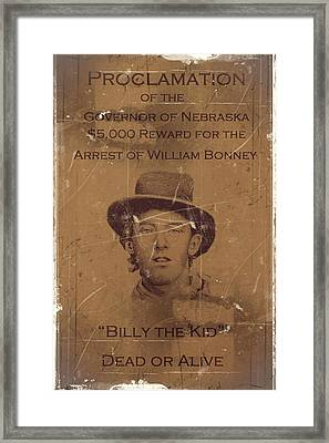 Billy The Kid Wanted Poster Framed Print by Movie Poster Prints