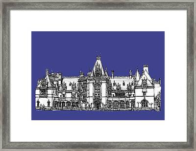Biltmore Estate In Royal Blue Framed Print by Building  Art