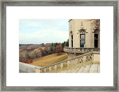 Biltmore Estates Garden Terrace Staircase View - Biltmore Autumn Fall Woodlands Framed Print by Kathy Fornal