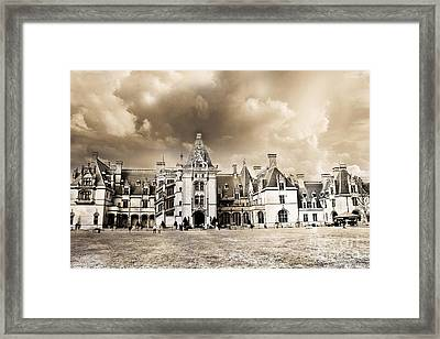 Biltmore Mansion Estate Architecture - Biltmore Estate Mansion Asheville North Carolina Framed Print by Kathy Fornal