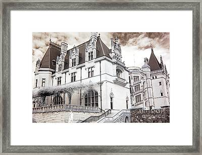 Biltmore Mansion Estate Asheville North Carolina - Surreal Biltmore Estate Mansion  Framed Print by Kathy Fornal