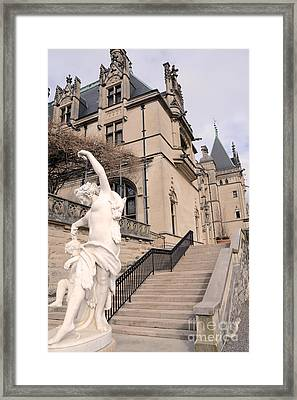 Biltmore Mansion Estate Italian Architecture And Sculptures Statues Framed Print by Kathy Fornal