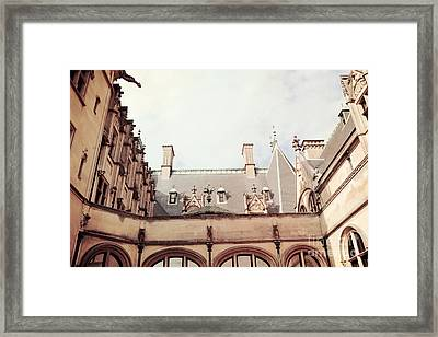 Biltmore Mansion Estate Rooftop Architecture - Italian Ornate Facade And Gargoyles Framed Print by Kathy Fornal