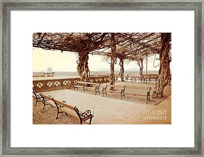 Biltmore Mansion Garden Terrace Piazza Overlooking Blue Ridge Mountains Asheville North Carolina Framed Print by Kathy Fornal