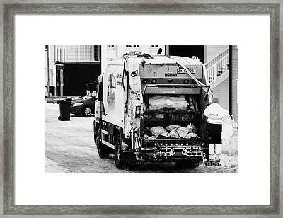 bin refuse collection rounds in winter Honningsvag finnmark norway europe Framed Print by Joe Fox