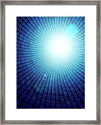Binary Code Framed Print by Sebastian Kaulitzki