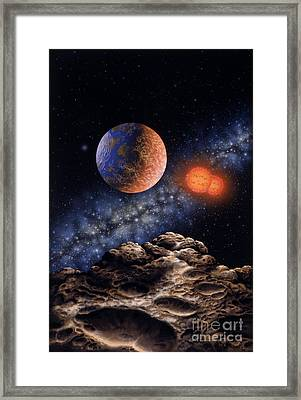 Binary Red Dwarf Star System Framed Print by Lynette Cook