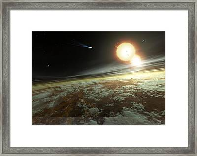 Binary Star System, Artwork Framed Print by Science Photo Library