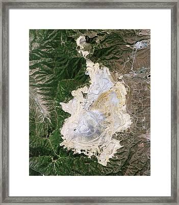 Bingham Canyon Mine Landslide Framed Print by Nasa Earth Observatory/jesse Allen And Robert Simmon/eo-1 Team/national Agricultural Imagery Program