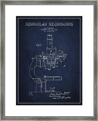 Binocular Microscope Patent Drawing From 1931 - Navy Blue Framed Print by Aged Pixel