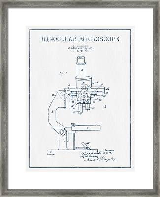 Binocular Microscope Patent Drawing From 1931 - Blue Ink Framed Print by Aged Pixel