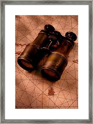Binoculars On Old Map Framed Print by Garry Gay