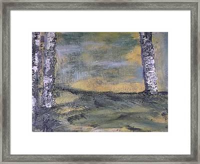 Birch Landscape Framed Print by Karen Lillard