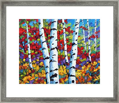 Birches In Abstract By Prankearts Framed Print by Richard T Pranke