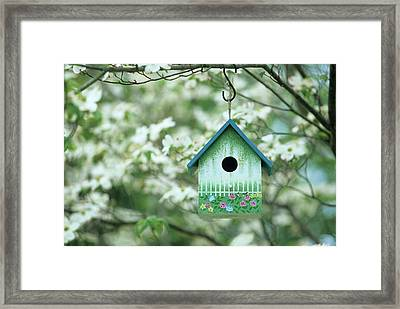 Bird House Nest Box In Flowering Framed Print by Richard and Susan Day