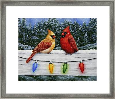 Bird Painting - Christmas Cardinals Framed Print by Crista Forest