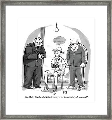 Bird Watcher Bound To Chair Speaks Jovially Framed Print by Benjamin Schwartz