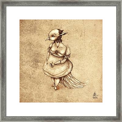 Bird Woman Framed Print by Autogiro Illustration