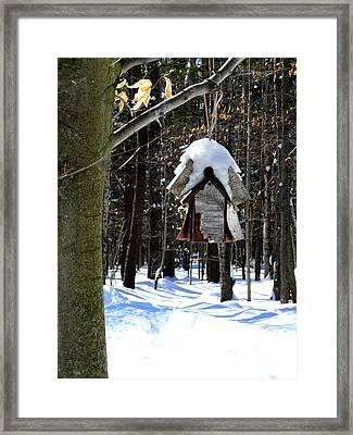Birdhouse In Winter Framed Print by Avis  Noelle