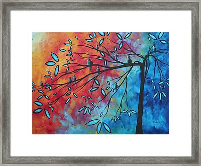Birds And Blossoms By Madart Framed Print by Megan Duncanson