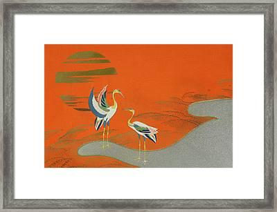 Birds At Sunset On The Lake Framed Print by Kamisaka Sekka