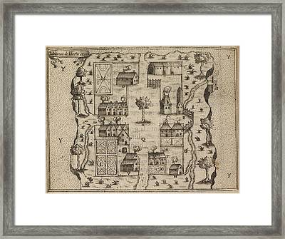 Bird's Eye View Of French Settlement Framed Print by British Library