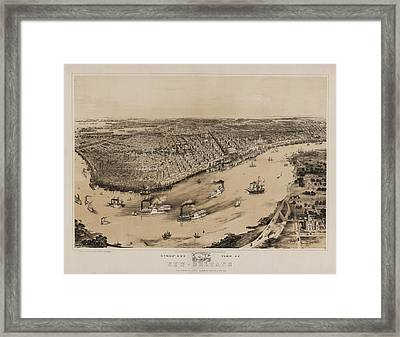 Birds Eye View Of New Orleans 1852 Framed Print by Digital Reproductions