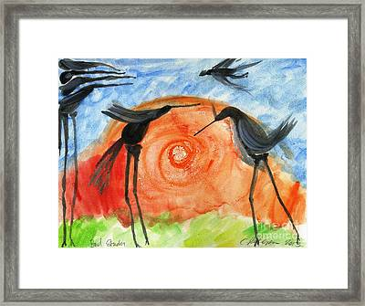 Birds In The Sun. A Black Bird Study 2013 Framed Print by Cathy Peterson
