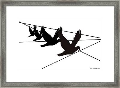 Birds On The Wire Framed Print by Laura Pierre-Louis