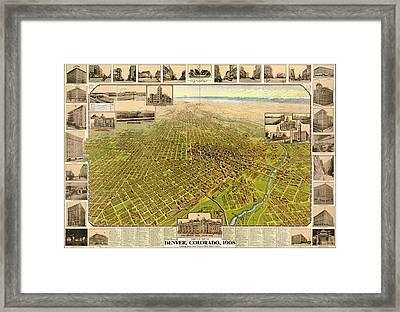 Birdseye Map Of Denver Colorado - 1908 Framed Print by Eric Glaser
