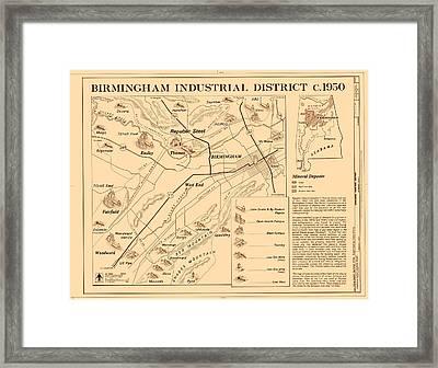 Birmingham Alabama Industrial District 1950 Framed Print by Mountain Dreams