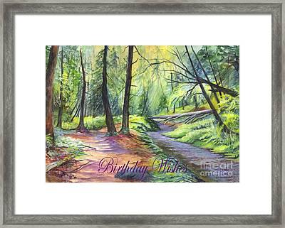 Birthday Wishes-a Woodland Path Framed Print by Carol Wisniewski